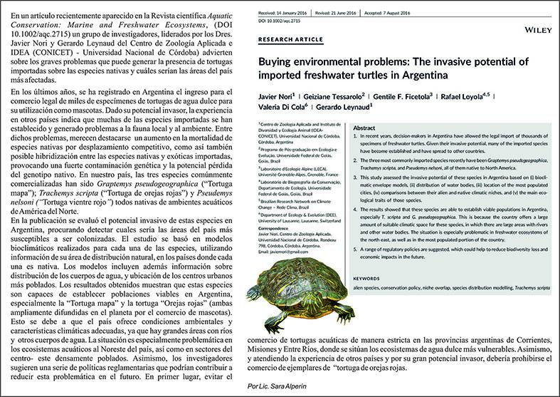 Nueva publicación de investigadores del Centro de Zoología Aplicada